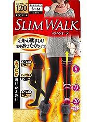 スリムウォーク 足先?お腹まわり 集中あったかタイツ 脚部分80デニール S-Mサイズ ブラック