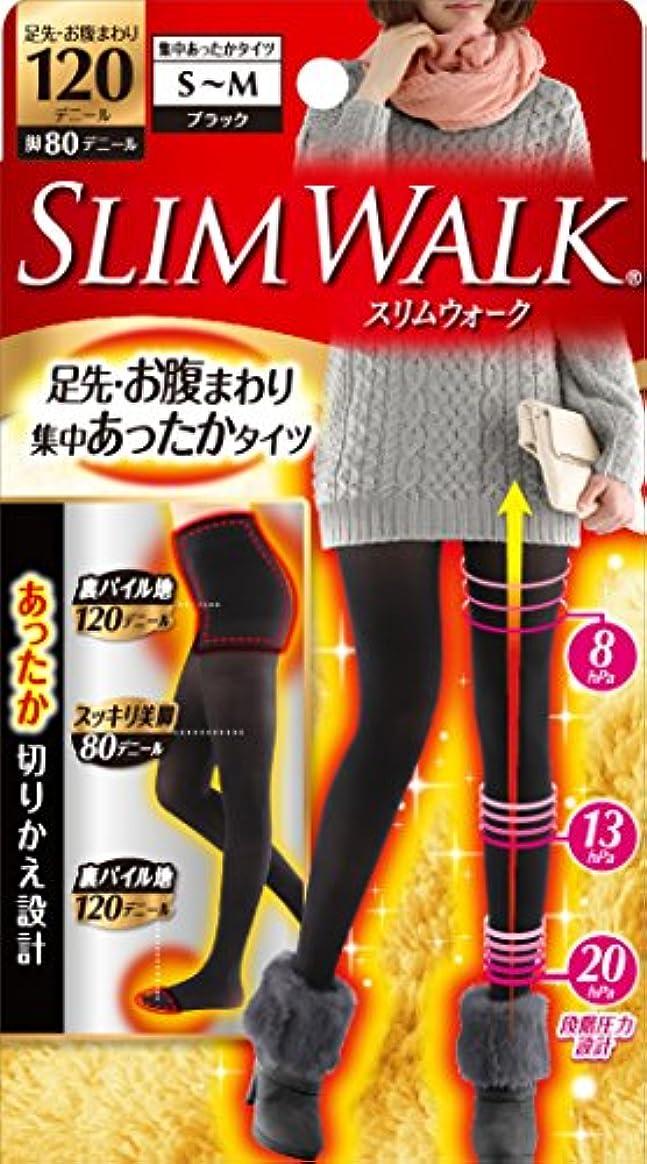 重要多様体かき混ぜるスリムウォーク 足先?お腹まわり 集中あったかタイツ 脚部分80デニール S-Mサイズ ブラック