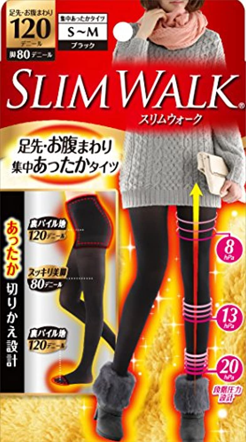 アジアビール失業者スリムウォーク 足先・お腹まわり 集中あったかタイツ 脚部分80デニール S-Mサイズ ブラック