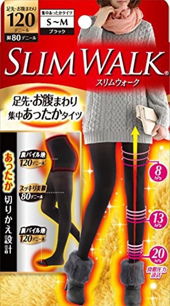 驚き障害一般スリムウォーク 足先?お腹まわり 集中あったかタイツ 脚部分80デニール S-Mサイズ ブラック
