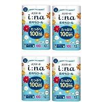 【まとめ買い】エリエール イーナ トイレットティシュー シングル(100m) 12ロール 華やぐフローラルの香り パルプ100%×4個