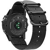 Fintie Band for Garmin Fenix 5X Plus/Fenix 3 HR Watch, Premium Woven Nylon Bands Adjustable Replacement Strap for Fenix 5X/5X Plus/3/3 HR Smartwatch, Black
