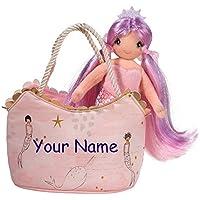 (Personalized Pink and Gold Mermaid Sassy Sak) - Personalised Douglas Pink and Gold Mermaid Princess Sassy Kidz Fashion Pet Sak Stuffed Animal Toy with Bag