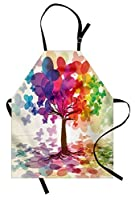 Abstract Apron by Ambesonne, Colorful Blooming Spring Season Tree with Butterflies Pastoral Nature Illustration, Unisex Kitchen Bib Apron with Adjustable Neck for Cooking Baking Gardening, Multicolor [並行輸入品]