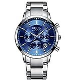 腕時計メンズ腕時計ラグジュアリークラシックステンレス腕時計ビジネスカジュアルウォッチメンズ防水マルチ機能クォーツ腕時計メンズ