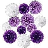 Wartoonティッシュペーパーポンポン結婚式の誕生日パーティーのための花ベビーシャワーの飾り、12個(紫、ラベンダー、白)
