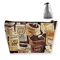 コーヒー豆 化粧ポーチ メイクポーチ 機能的 大容量 化粧品収納 小物入れ 普段使い 出張 旅行 メイク ブラシ バッグ 化粧バッグ