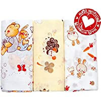 Baby swaddling blankets set of 3. Large soft baby cotton bedding blankets. Exclusive nursery receiving blankets for girls and boys by MyBabyComfort