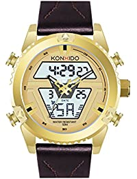 KONXIDO 腕時計 メンズ 日本製クォーツムーブメント レザーベルト 日付表示 アナデジウォッチ 男性 時計 防水腕時計 カジュアル ビジネス ファッション 日本語取扱説明書付き ゴールド