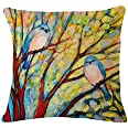 Oil Painting Hundreds of Birds Cotton Linen Throw Pillow Case Cushion Cover Home Sofa Decorative 18 X 18 Inch(3) (002)