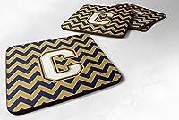 セットの4文字C Chevron NavyブルーandゴールドFoamコースターのセット4cj1057-cfc