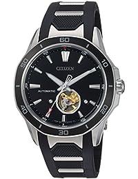 Citizen Men 's ' Signature ' Mechanical Hand WindステンレススチールとポリウレタンDress Watch, Color : Black (Model : nb4018–04e)