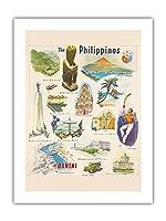 フィリピン - カンタス航空 - ビンテージな世界旅行のポスター c.1962 -プレミアム290gsmジークレーアートプリント - 46cm x 61cm