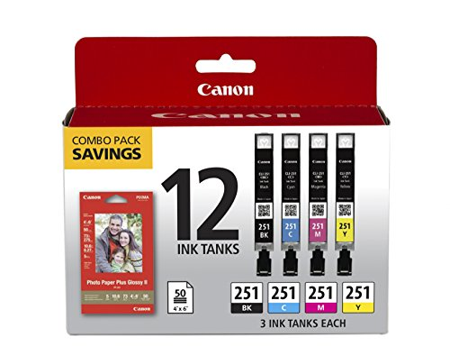 Canon CLI-251 CMYK (3ea) 12-ink tanks Combo Value Pack - 12-pack - black, yellow, cyan, magenta - original - ink tank - for PIXMA iP8720, IX6820, MG5520, MG5522, MG5620, MG5622, MG6420, MG66