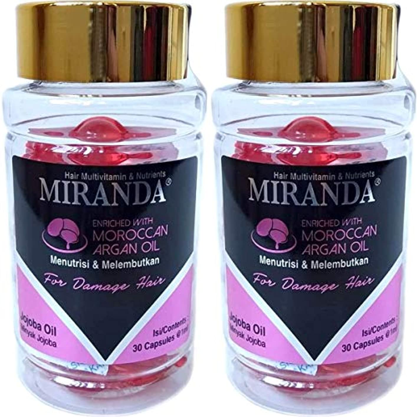 リッチからかうジュラシックパークMIRANDA ミランダ Hair Multivitamin&Nutrients ヘアマルチビタミン ニュートリエンツ 洗い流さないヘアトリートメント 30粒入ボトル×2個セット Jojoba oil ホホバオイル [海外直送品]