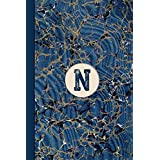 Monogram N Marble Notebook (Blue Ginger Edition): Blank Lined Marble Journal for Names Starting with Initial Letter N