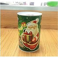 HuaQingPiJu-JP クリスマスマネーバンク円柱の缶詰めはピギーバンク(緑のサンタクロース)できます