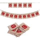 Parentswell メリークリスマス キャラクター ジュート黄麻布バナー クリスマス/ホリデーパーティーバナーデコレーション