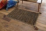 キリム調 玄関 マット 屋内 室内 用 ハンドメイド キーマ (50x80 cm ブラウン)