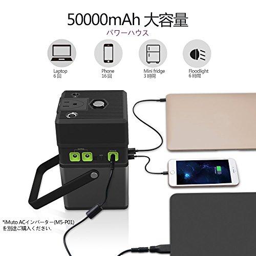 iMuto M5 182Wh/50000mAh ポータブル電源 大容量 モバイルバッテリー 家庭用 蓄電池 USB&DC&AC 出力対応(5V/12V/19V/115V)ノートパソコンPanasonic/Macbook/Sony/FUJITSU富士通/Toshiba/Lenovo/Nintendo Switch等対応 SOS機能付き モバイル電源 キャンプ、緊急・災害時バックアップ用予備電源