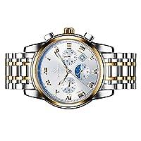 sharprepublic 腕時計 メンズ 時計 ウォッチ ビジネス 自動 機械式 ステンレスバンド 全5色 - ゴールドホワイト