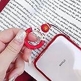 AQAA リングストラップ シリコーン 可愛い 携帯 スマホ用 Lサイズ 内径22mm メタルホンホルダー プルリングバックル 耐荷重200g (豚-赤) 画像