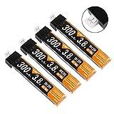 4個 1S リポバッテリー 300mAh HV 30C 3.8V Tiny Whoop Inductrix用 JST-PH 2.0 Powerwhoopコネクター
