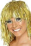 ウィッグ ゴールド 1970年代風 ミディアム ロング メタリック 大人女性用 Cyber Tinsel Wig