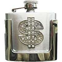 JEAN'S FRIEND Rhinestone US Dollar Sign Two Ounce Stainless Steel Flask Belt Buckle