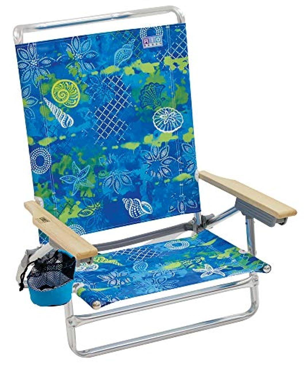経済的振る効果Rio 5-Position Lay Flat Designer Beach Chair - Blue Green Print