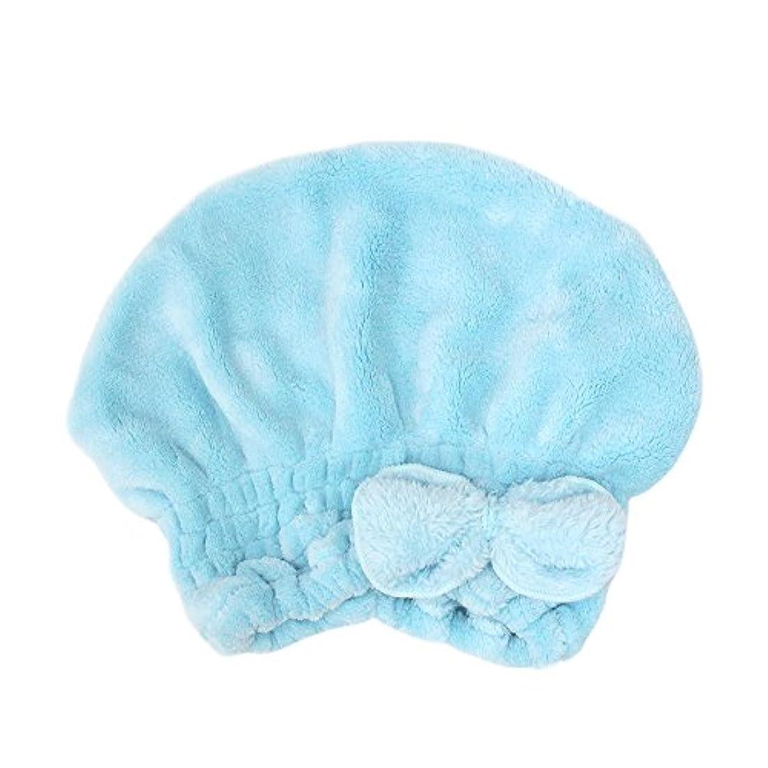 尋ねる無心レジキャップ プール タオルキャップ タオル 帽子 吸水性抜群 プール お風呂 ドライキャップ 風呂上りシャワー 速乾 時短ドライ ヘアキャップ スイミング キッズ 子ども 女の子 大人女子 6color (ライトブルー)