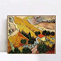 "INVIN ART Framed Canvas Art Valley with Ploughman Seen from Above by Vincent Van Gogh Wall Art Living Room Home Office Decorations(Champagne Slim Frame,24""x32"")"