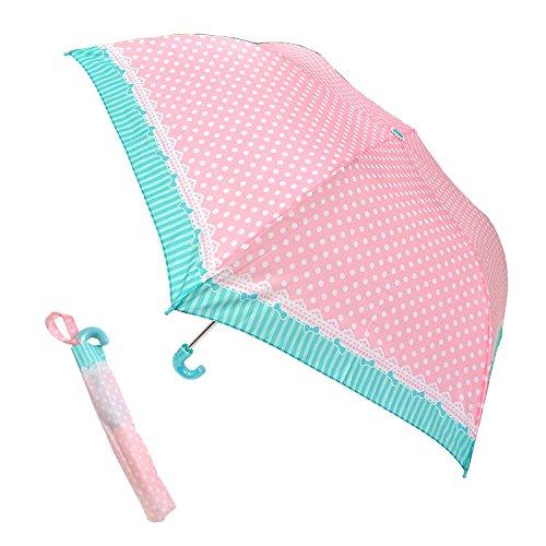 折りたたみ傘 傘 60701 キッズ 女の子 ガーリー ドット 55cm 軽量 手開き 手動開閉 ネ...