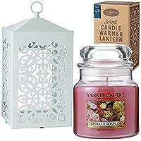 YANKEE CANDLE(ヤンキーキャンドル) YANKEE CANDLE ジャーM スクロールキャンドルウォーマーセット(ホワイト) 「 フレッシュカットローズ 」(K5141003)