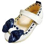 キッズ シューズ 蝶々 リボン フラット ヒール パンプス 子供 靴 (14cm, ホワイト)