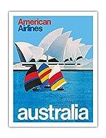 オーストラリア - オペラシドニー - アメリカン航空 - ビンテージな航空会社のポスター c.1969 - アートポスター - 51cm x 66cm