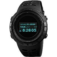 メンズデジタルスポーツウォッチ 男性デジタル腕時計 SKMEI軍事的なスタイル OLEDスクリーン  アウトドアサバイバル防水腕時計 デュアルタイムゾーン コンパス 歩数計 温度計 ストップウォッチ 英語取扱説明書
