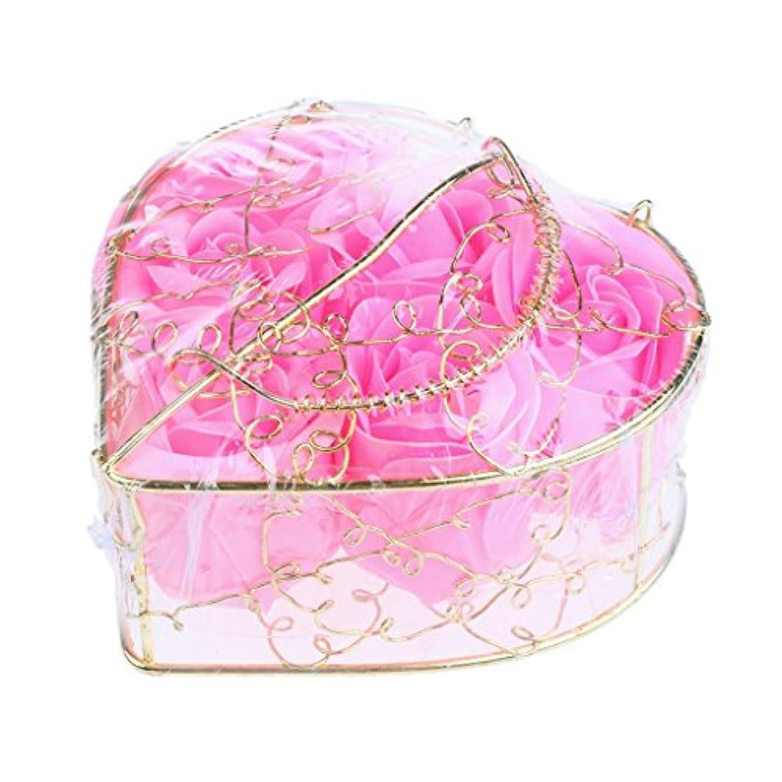食用黄ばむカートリッジPerfk 6個 石鹸の花 石鹸花  造花 フラワー バラ ソープフラワー  シャボンフラワー  フラワーボックス プレゼント 全5タイプ選べる - ピンク