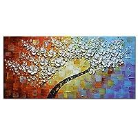 カラフルな花の木手塗りの油絵キャンバスに現代絵パレットナイフ絵画用リビングルームなしフレーム,A,50*100cm