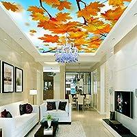 Lixiaoer カスタム写真の壁紙3Dステレオの壁紙カエデの森の美しい風景の天井のフレスコ画の背景の壁の壁紙カスタム壁画-150X120Cm