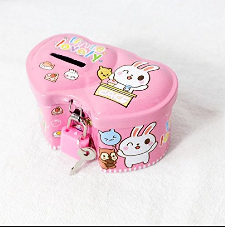 マネー バンク デリケートなダブルハート型ピギーバンクプレミアムティンプレート収納ボックス(ピンク)