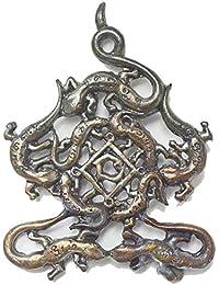 MiracleジュエリーギフトGecko Amulet Jing Jok 9 Keaw Leaw MaadJai Charming & Attraction Talisman