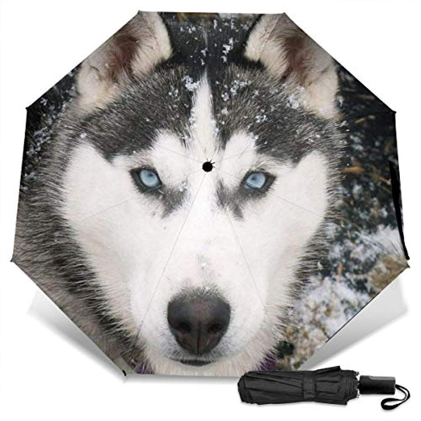 アルファベット順用心深い苛性雪の中でシベリアンハスキー犬折りたたみ傘 軽量 手動三つ折り傘 日傘 耐風撥水 晴雨兼用 遮光遮熱 紫外線対策 携帯用かさ 出張旅行通勤 女性と男性用 (黒ゴム)
