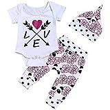 hfeweng 幼児の赤ちゃん男の子&女の子のコットンレター花のプリントトップスTシャツパンツの帽子の服セット6ヶ月 - 24ヶ月
