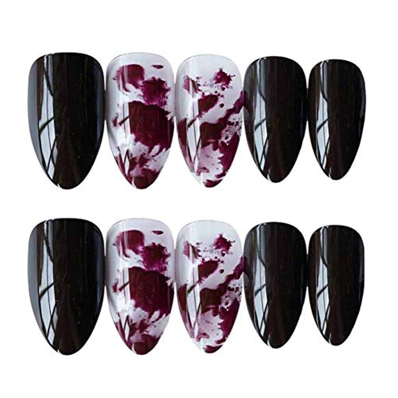 移住する団結する有彩色のスプラッシュインクダークレッド/ブラック 鋭い偽爪人工偽爪のヒント