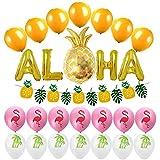 Amosfunアロハバルーンセットハワイ夏祭り集会用ゴールデンパイナップルバナーアルミ箔バルーン