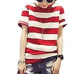 Colorfulcatオリジナル レディース ボーダー Tシャツ 半袖 太め 大きめ ライン シンプル M L XL XXL 全2色