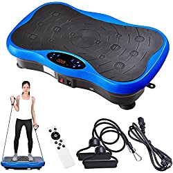 Yescom 3500W Slim Vibration Machine Platform Plate Bluetooth Body Shape Trainer Fitness Blue