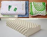 100%タイ王国 天然ラテックス枕 高反発枕 高品質 (枕カバー付き)肩こり 首痛軽減 横寝の方におすすめ 洗濯可能 原料採取から製造まで全てタイにて行っております タイ認定書付き 61x36x10~12cm