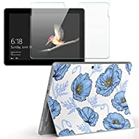 Surface go 専用スキンシール ガラスフィルム セット サーフェス go カバー ケース フィルム ステッカー アクセサリー 保護 花 花柄 水色 011996